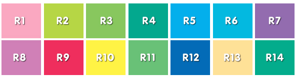 Colors used in CRI Testing
